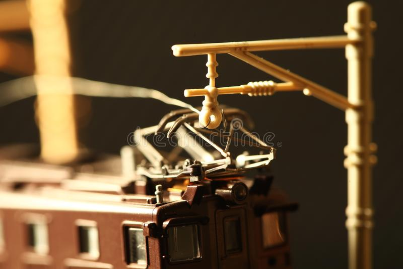 Miniatuurspoorwegstuk speelgoed modelscène stock afbeelding