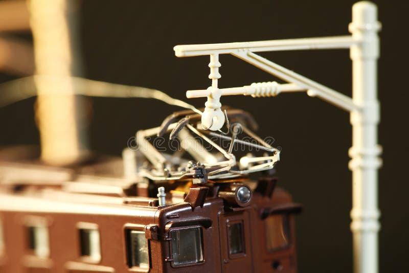 Miniatuurspoorwegstuk speelgoed modelscène royalty-vrije stock foto's