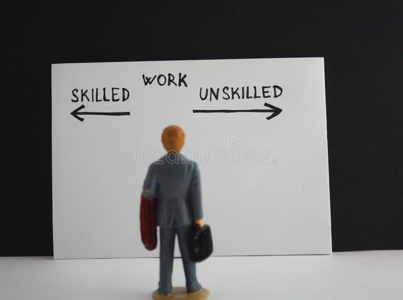 Miniatyrämne för arbete för anställd för personaffärsmanarbetare… kompetent kontra oerfaret arkivfoton