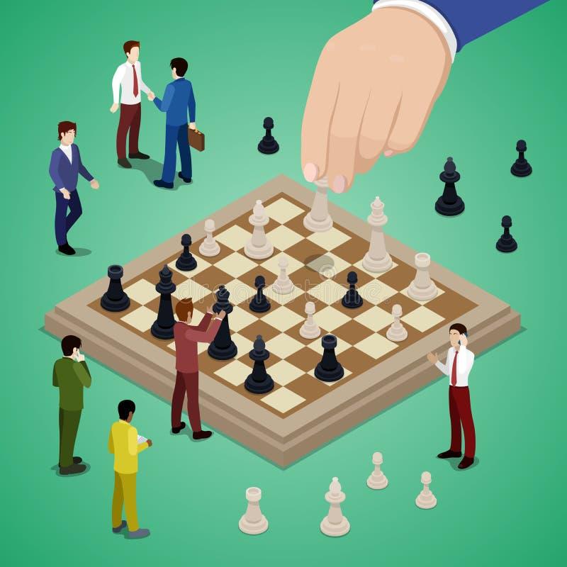 Miniatyraffärsfolk som spelar schack stock illustrationer