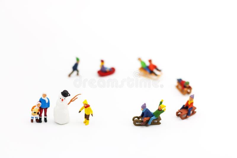 Miniatyrfolk: Barns spela gyckel med snöglidaren royaltyfria bilder