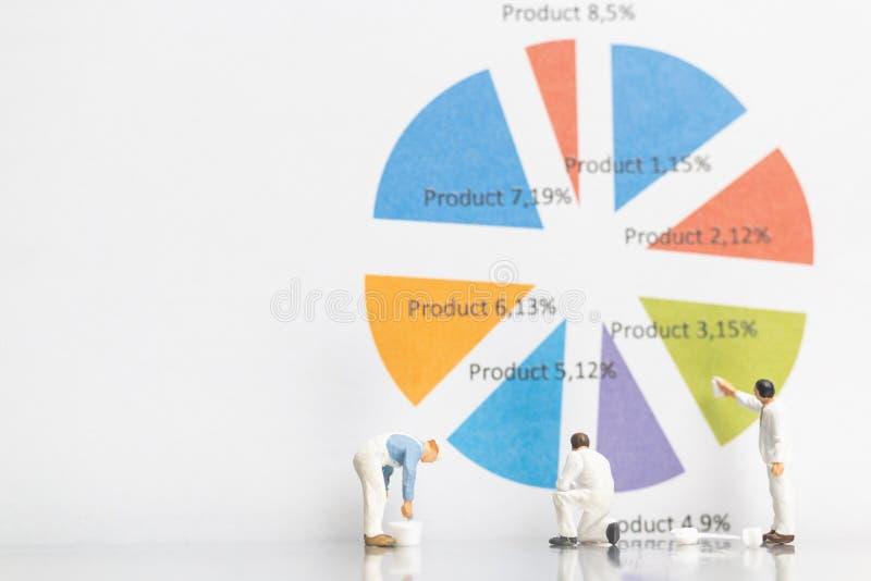 Miniatyrfolk: Graf för arbetarmålningaffär på vit backg arkivfoton