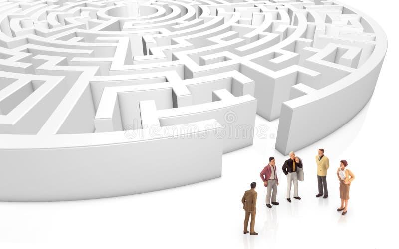 Miniatyrfolk som framme möter en labyrint vektor illustrationer