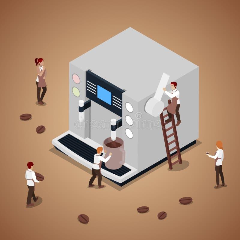 Miniatyrfolk som gör kaffe med espressomaskinen stock illustrationer