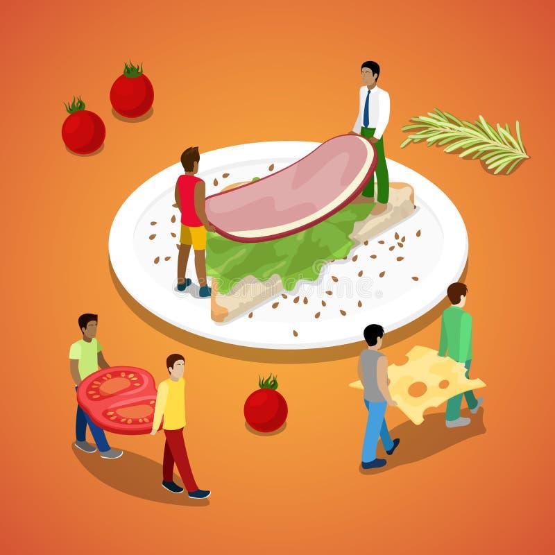 Miniatyrfolk som gör smörgåsen med skinka och ost sund mat royaltyfri illustrationer