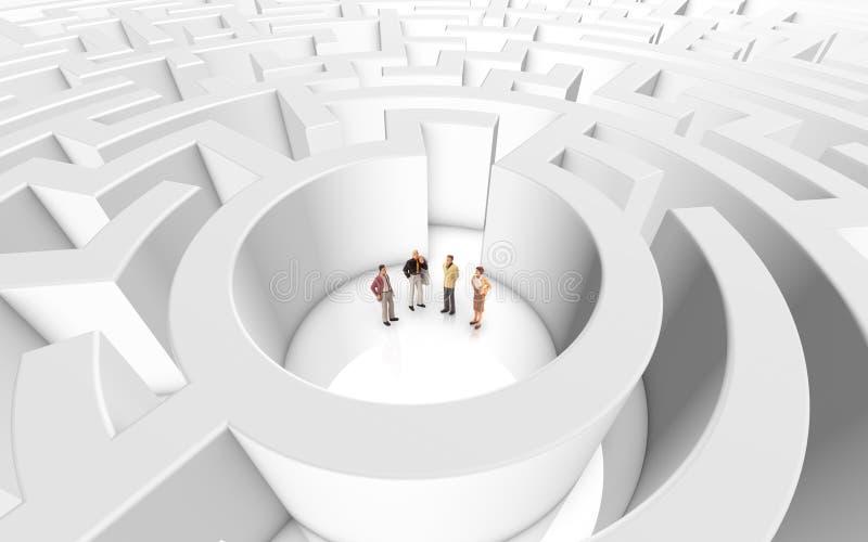 Miniatyrfolk som möter i en labyrint royaltyfri illustrationer