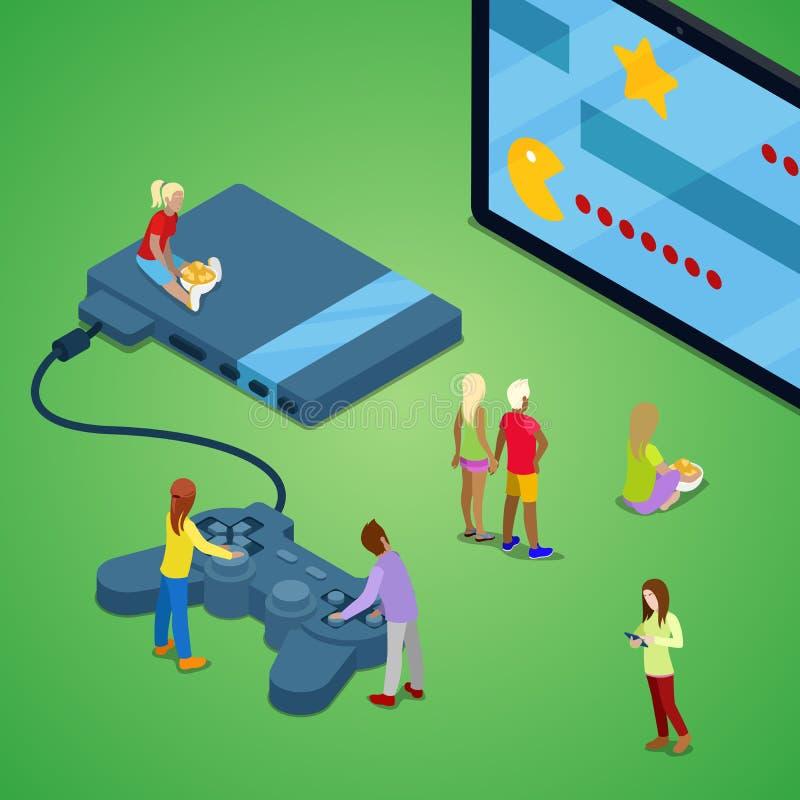 Miniatyrfolk som spelar videospel på konsolen Dobbelteknologi Isometrisk illustration royaltyfri illustrationer