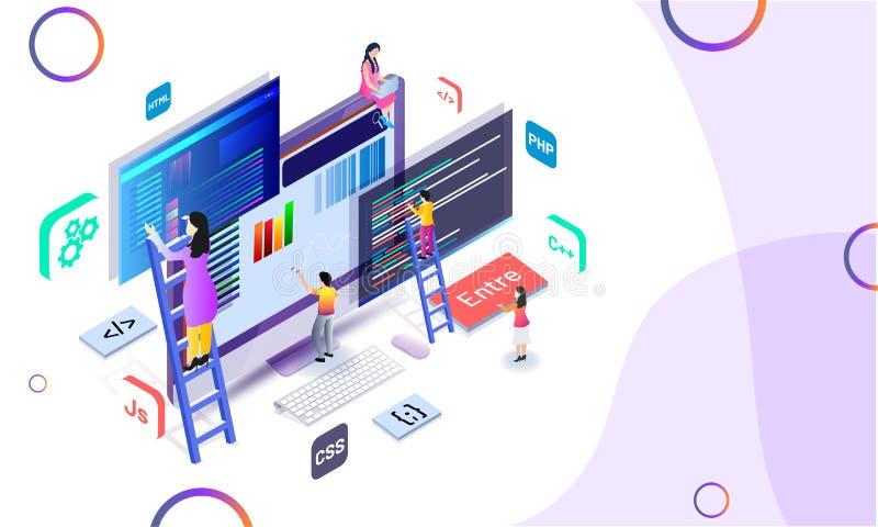Miniatyrrengöringsdukbärare som analy underhåller websiten eller analytikeren vektor illustrationer