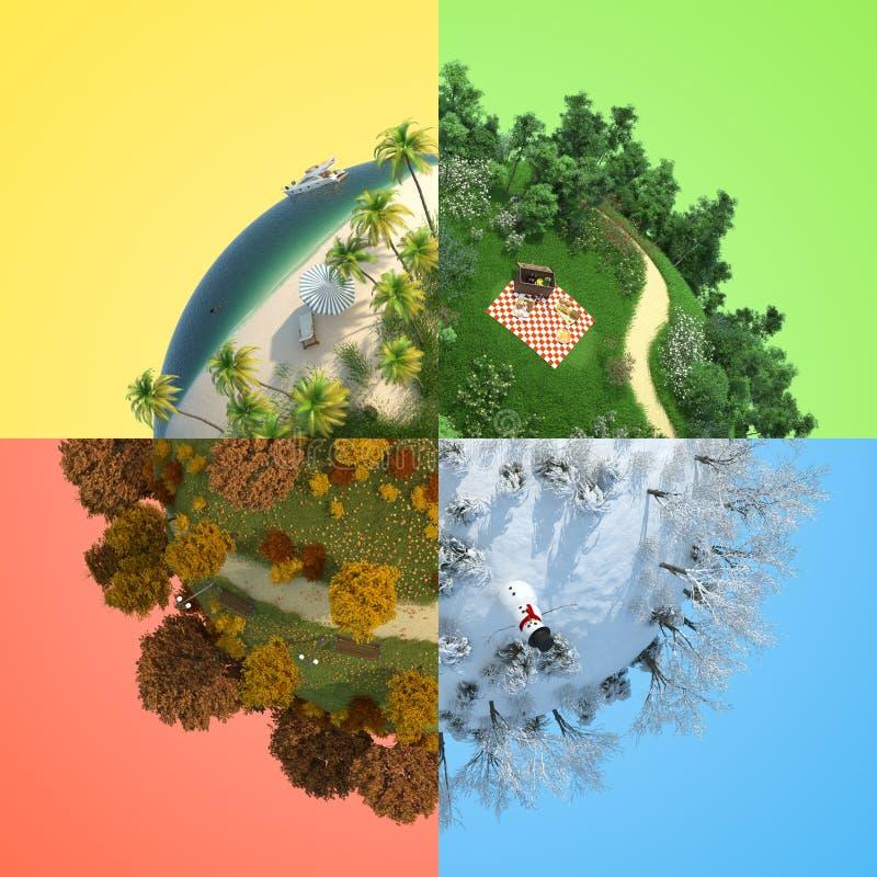 miniatyrsäsong för fyra jordklot stock illustrationer