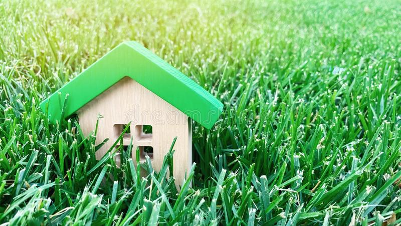 Miniatyrträhus på gräs verkligt begreppsgods Eco-vänskapsmatch och för energi effektivt hus Köpa ett hem utanför staden _ royaltyfria bilder