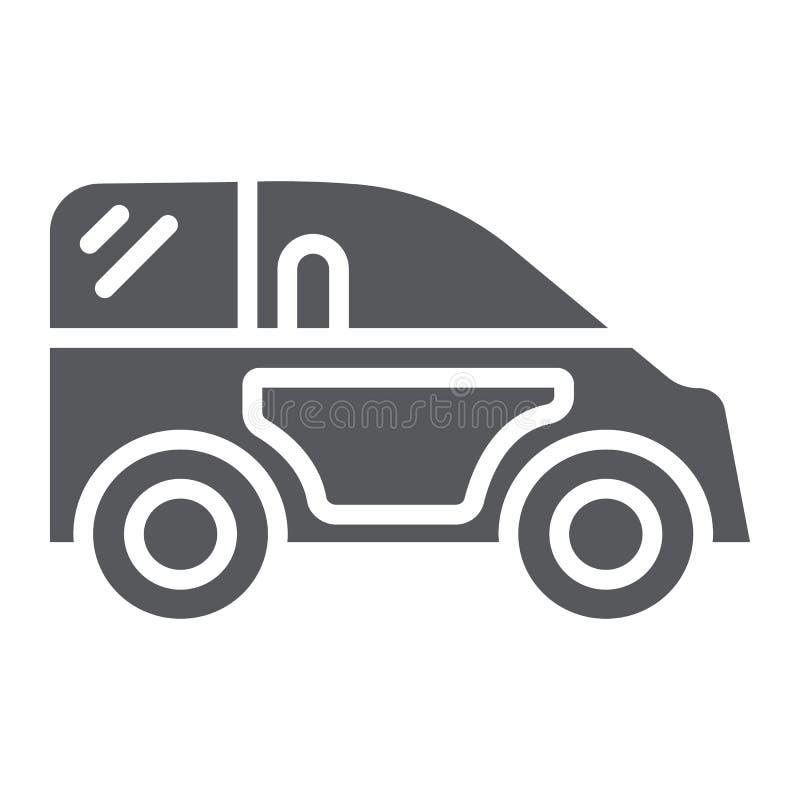 Miniauto Glyphikone, Transport und Automobil, Selbstzeichen, Vektorgrafik, ein festes Muster auf einem weißen Hintergrund lizenzfreie abbildung