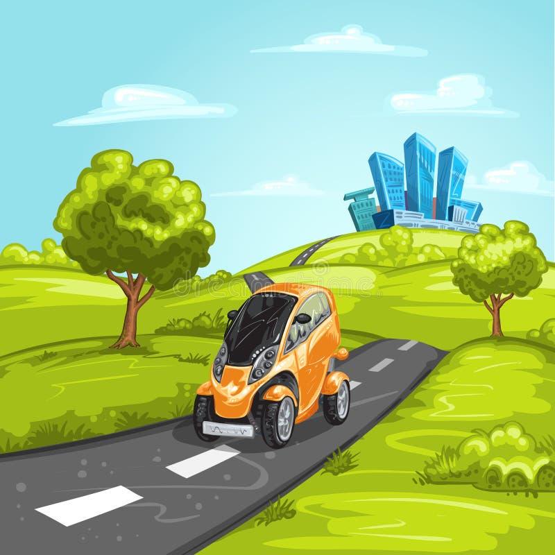 Miniauto op asfaltweg royalty-vrije stock foto