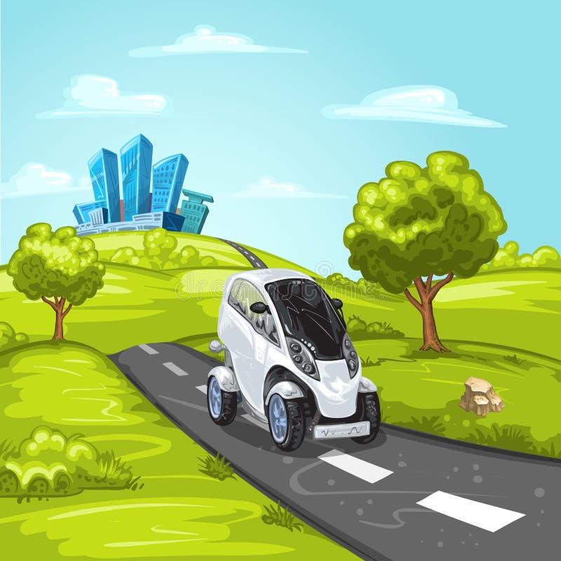 Miniauto op asfaltweg royalty-vrije stock fotografie