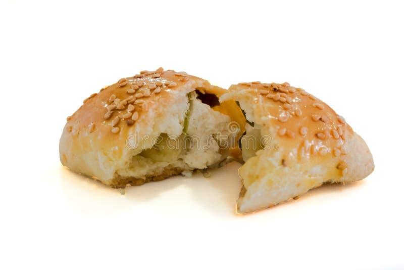 Minibroodjesgebakje met kaas het vullen stock foto's