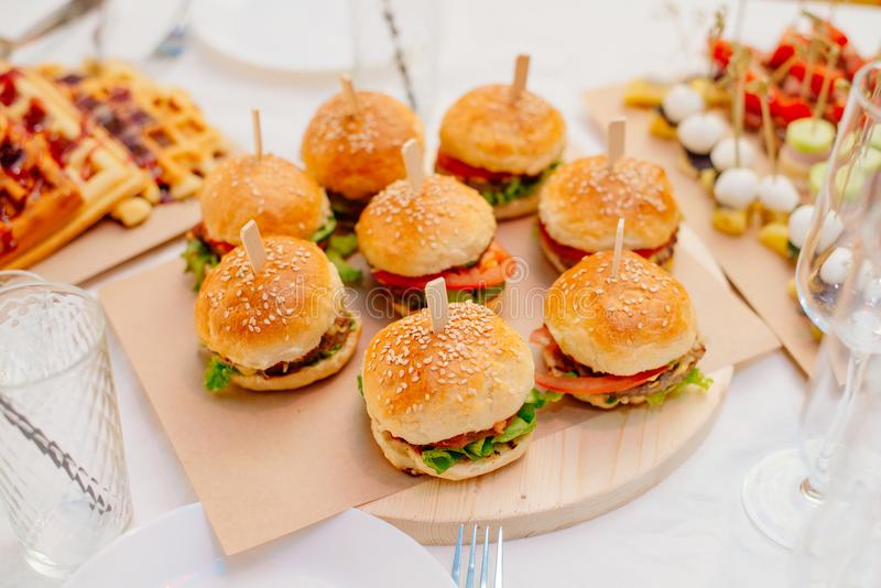 Miniburger für eine Partei stockbilder