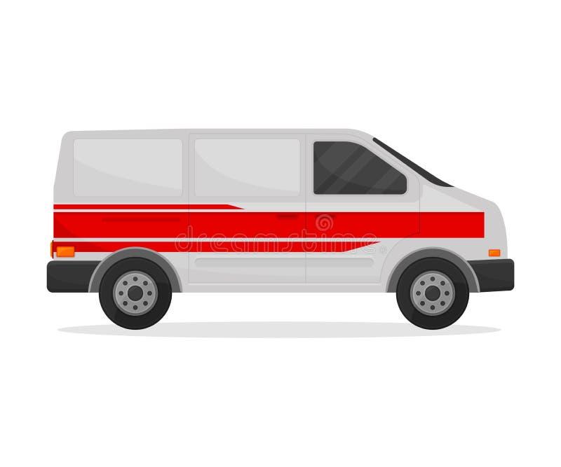 Minibus blanc médical avec trois rayures rouges Illustration de vecteur sur le fond blanc illustration de vecteur