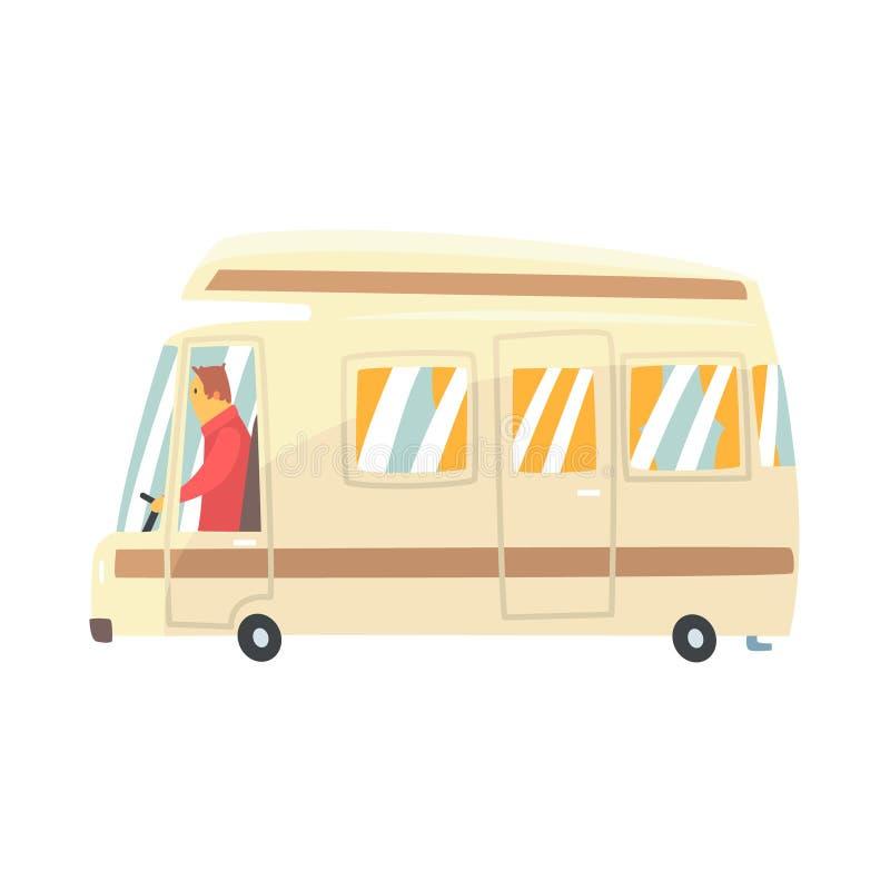 Minibus do curso dos desenhos animados do vintage Ilustração do vetor da camionete de campista ilustração do vetor