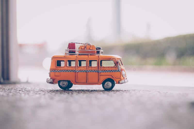Minibus with luggage stock image