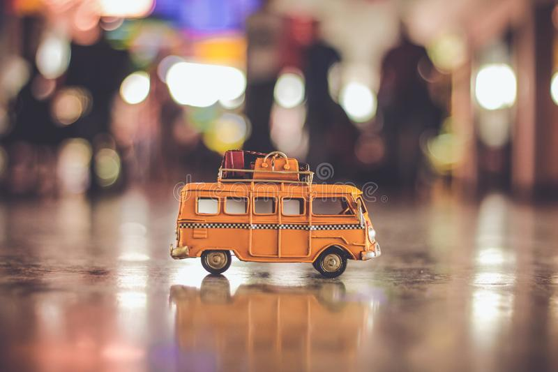 Minibus with luggage on street stock photo