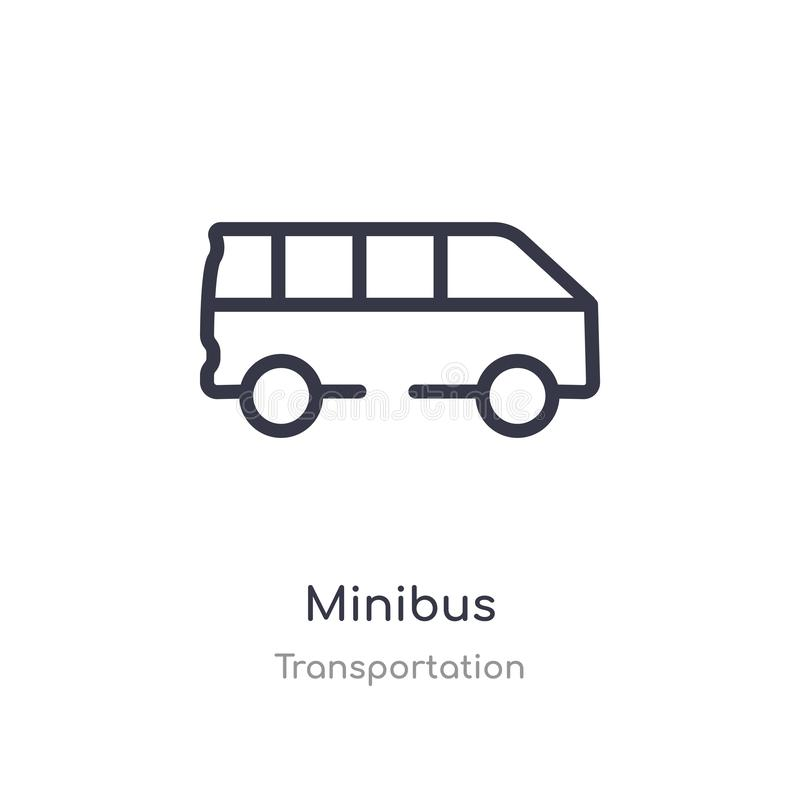 minibus outline icon. isolated line vector illustration from transportation collection. editable thin stroke minibus icon on white stock illustration
