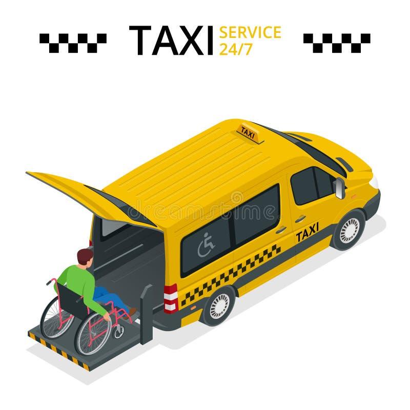 Minibus para fisicamente deficientes motores Táxi ou carro para o homem na cadeira de rodas Veículo com um elevador Vetor 3d liso ilustração do vetor