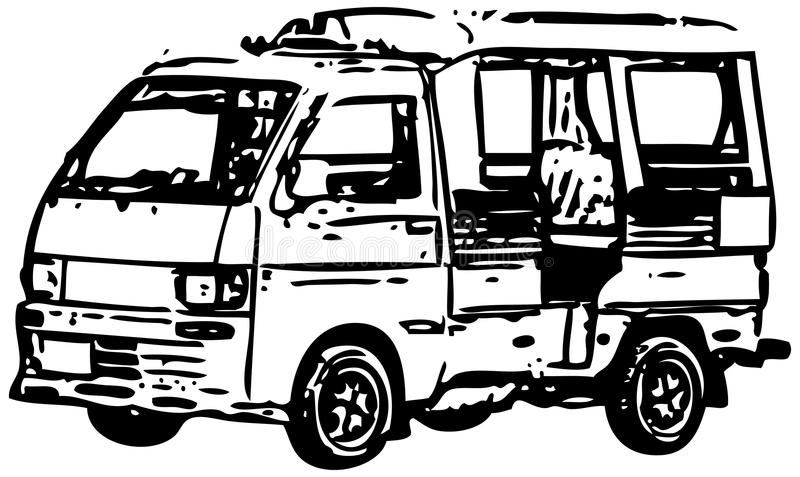 Minibus - A Simplified Monochrome Vector Stock Photography