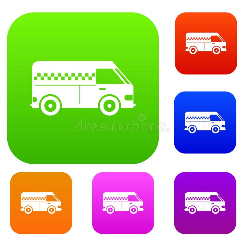 Minibus taxi set collection royalty free illustration