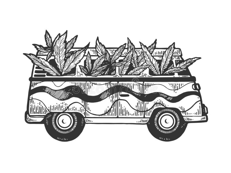Minibus van with cannabis leaf engraving vector. Minibus van with weed cannabis leaf engraving vector illustration. Scratch board style imitation. Black and royalty free illustration