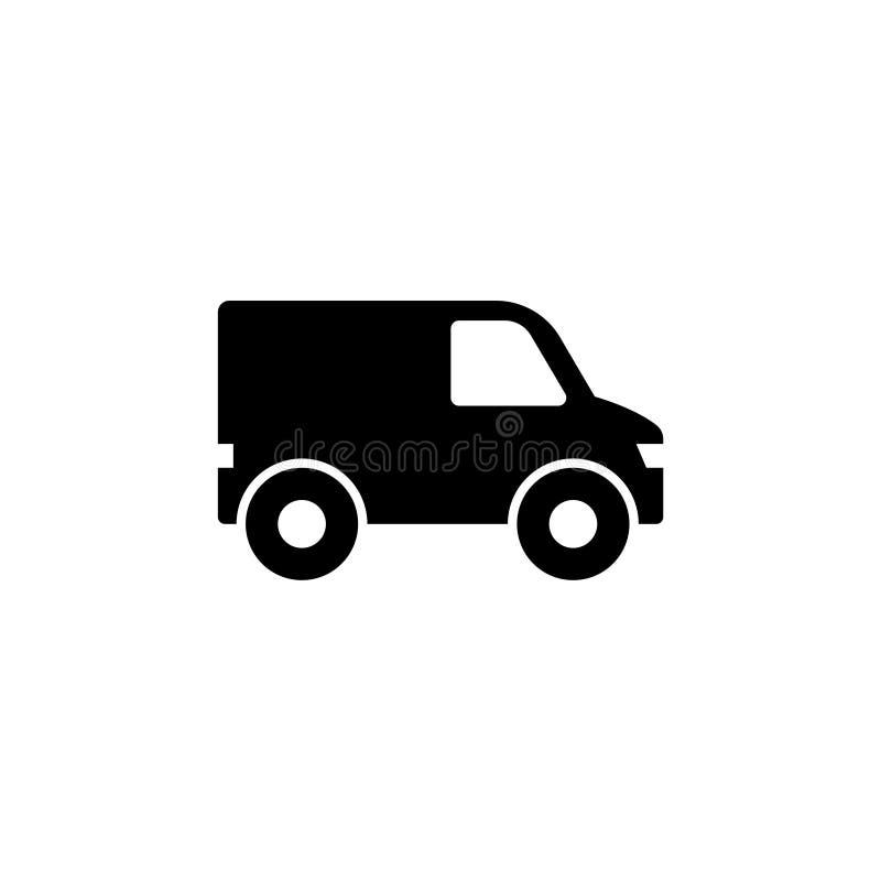 Minibus, Van Mini Autobus Płaska Wektorowa ikona royalty ilustracja