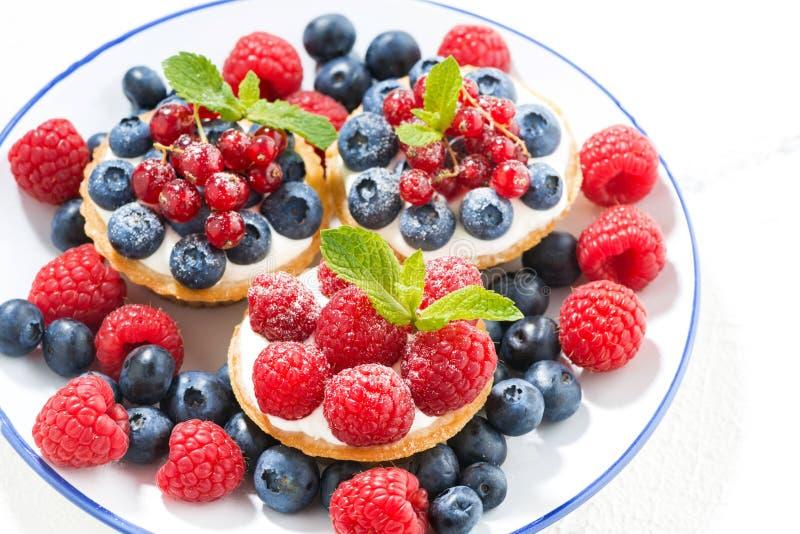 Minicakes met zoete room en bessen op plaat stock afbeelding
