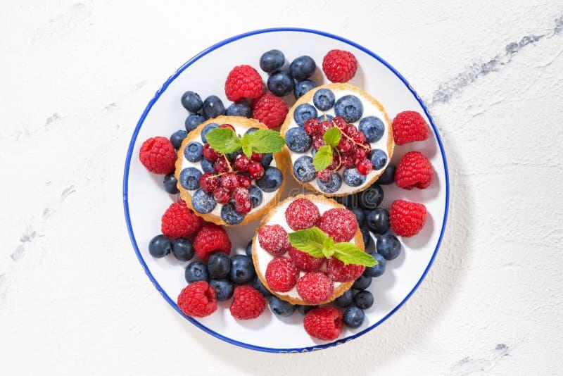 Minicakes met zoete room en bessen op plaat, hoogste mening royalty-vrije stock fotografie