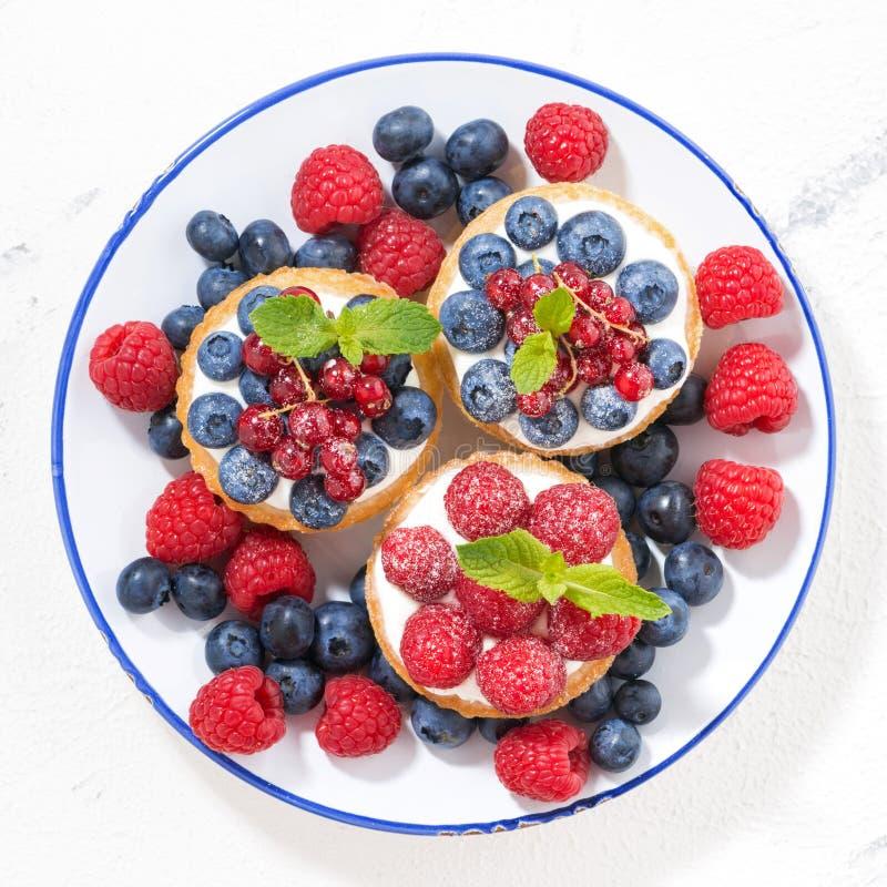 minicakes met zoete room en verse bessen op plaat, hoogste mening stock afbeeldingen