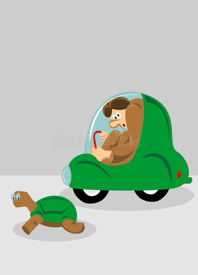 Minicar et tortue illustration libre de droits