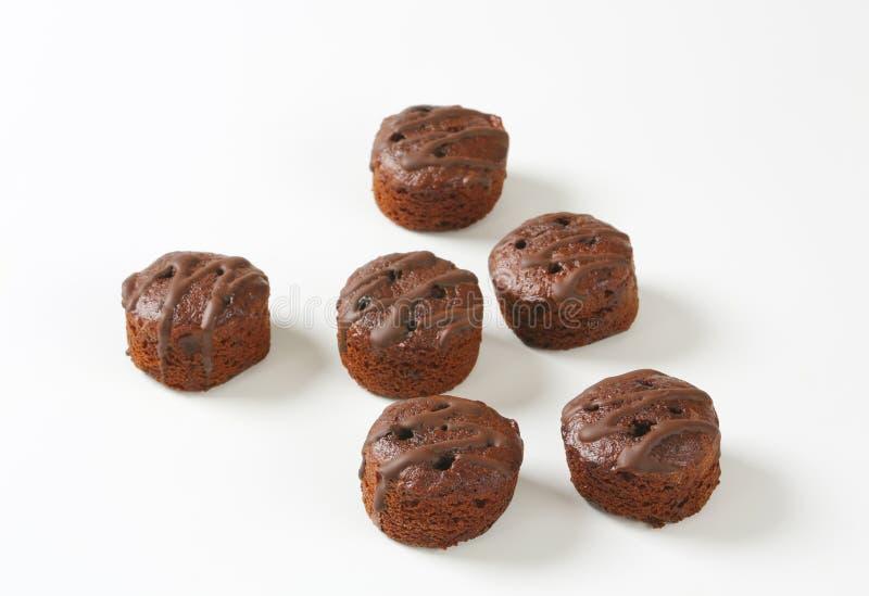 Minichocoladecakes royalty-vrije stock foto's