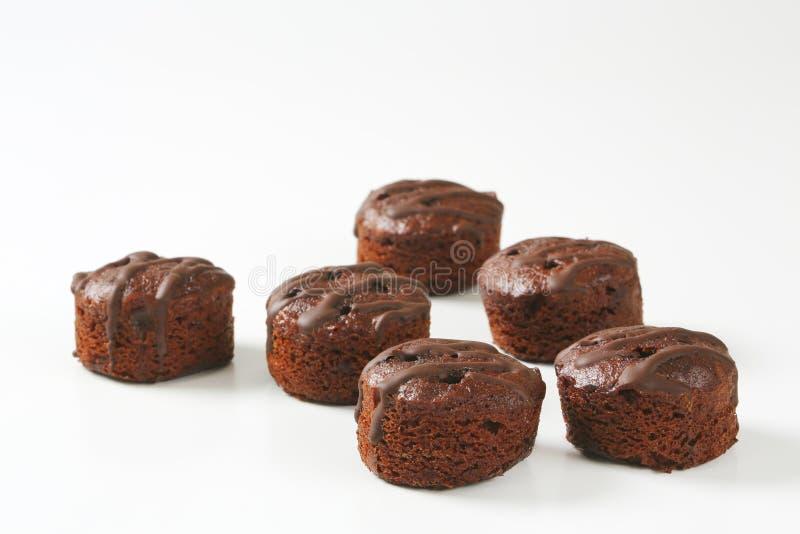 Minichocoladecakes stock foto