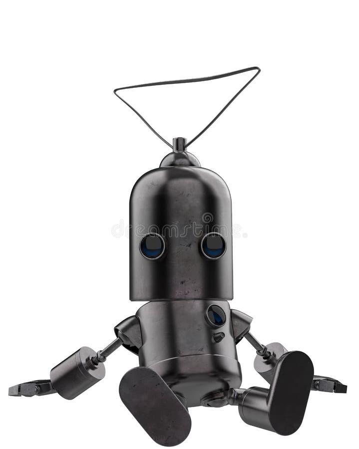 Minieisenroboter in einem weißen Hintergrund lizenzfreie abbildung