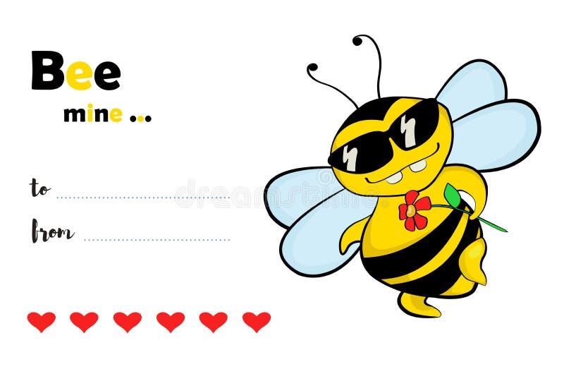 Miniera dell'ape - carta di giorno del ` s del biglietto di S. Valentino royalty illustrazione gratis