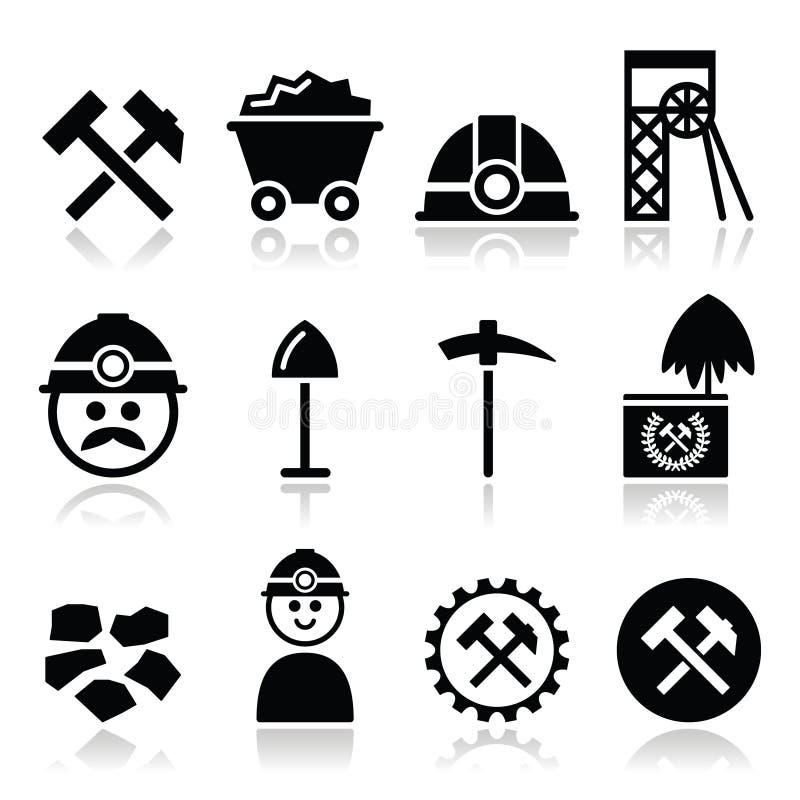 Miniera di carbone, icone del minatore messe illustrazione di stock