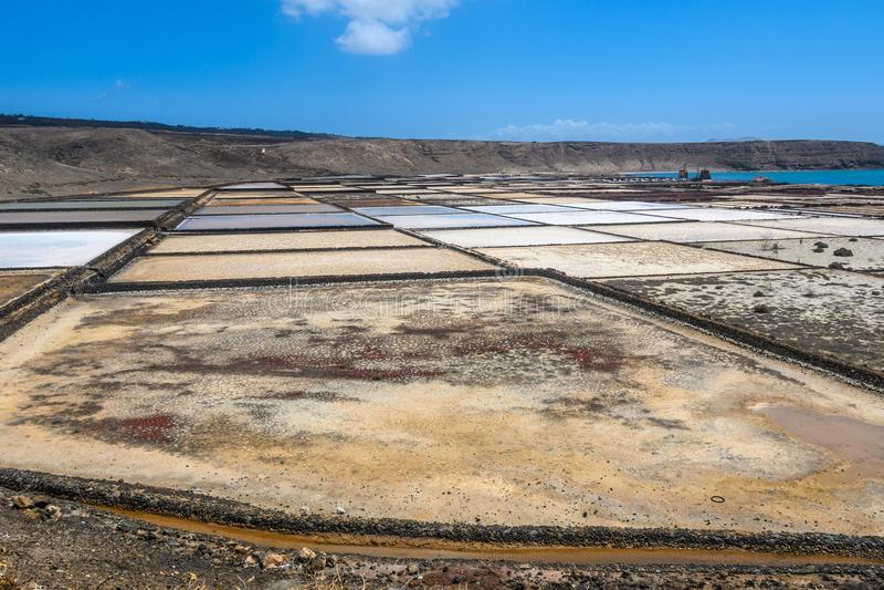 Miniere di sale di Janubio a Lanzarote, Spagna fotografia stock