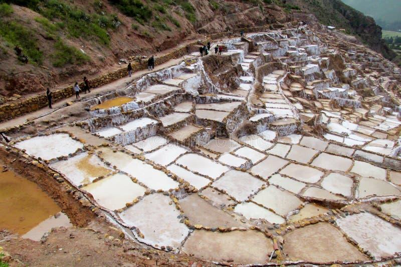 Miniere di sale Salinas de Maras, Cusco, Perù fotografie stock libere da diritti
