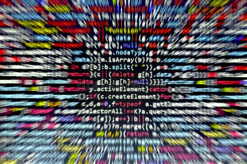 Minificated javascriptkod Dator som programmerar skärmen för abstrakt begrepp för källkod av rengöringsdukbärare Modern backgrou  arkivfoto