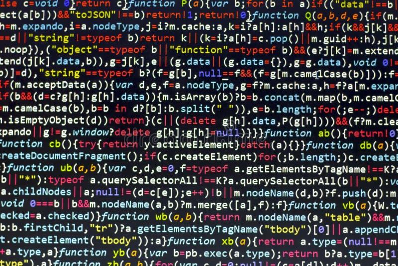 Minificated javascriptkod Dator som programmerar skärmen för abstrakt begrepp för källkod av rengöringsdukbärare Modern backgrou  arkivbild