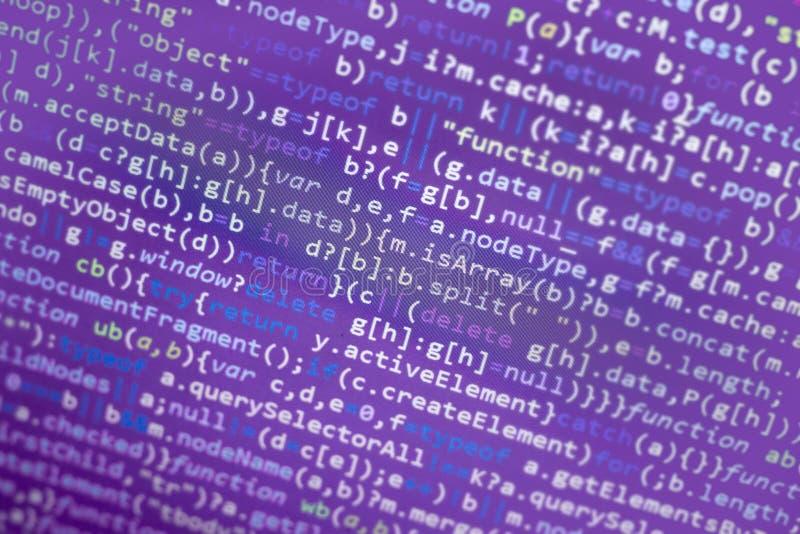 Minificated javascriptkod Dator som programmerar skärmen för abstrakt begrepp för källkod av rengöringsdukbärare Modern backgrou  royaltyfri fotografi
