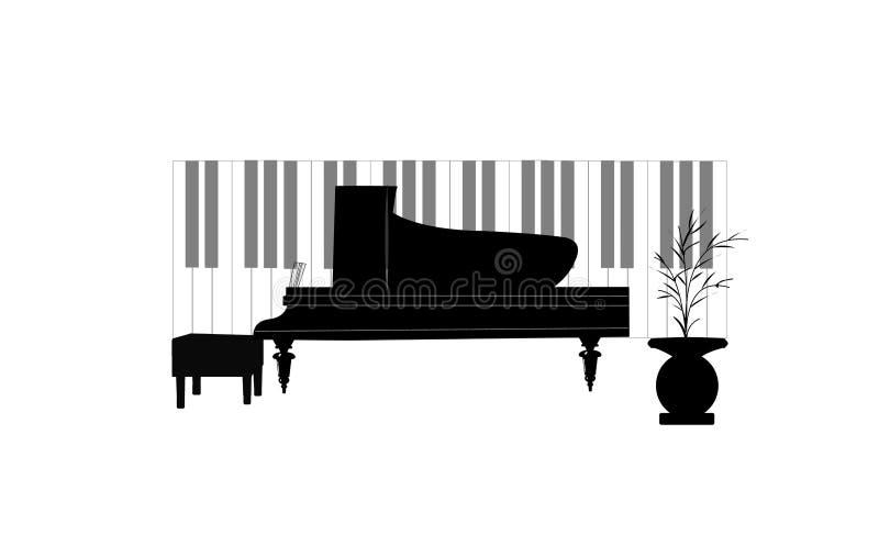 Miniflygelpiano royaltyfri illustrationer
