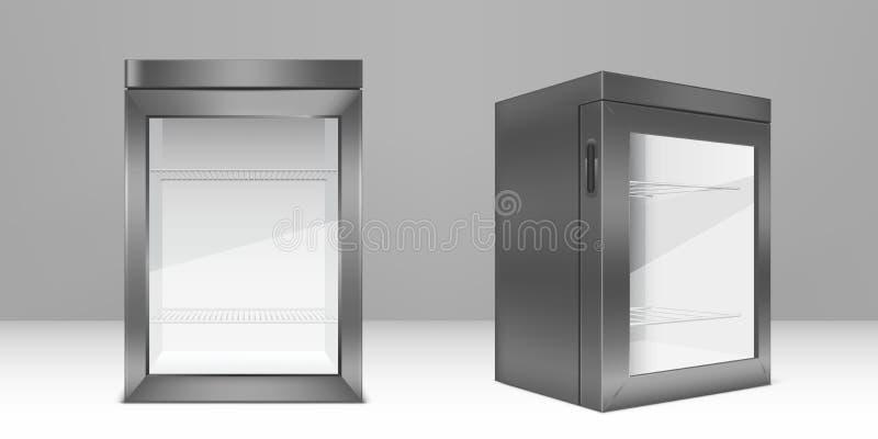 Minifrigorífico cinzento vazio com porta de vidro transparente ilustração do vetor