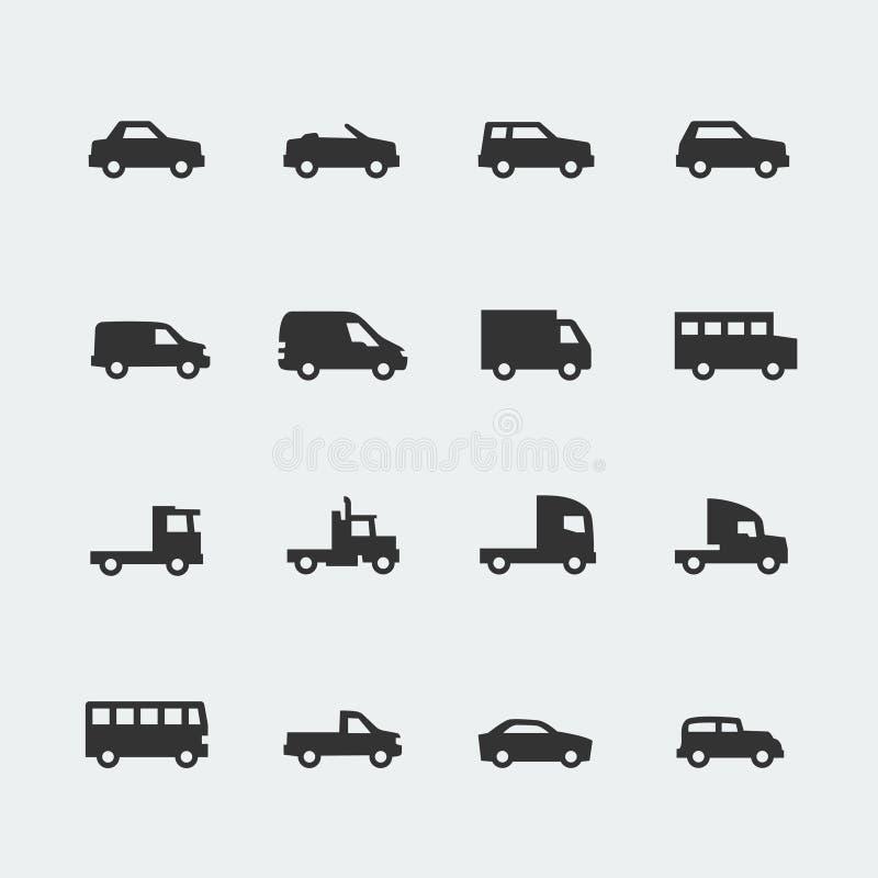 Miniiconos de los coches/de los vehículos del vector stock de ilustración