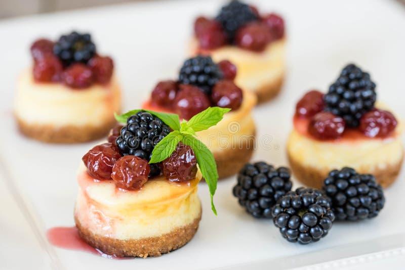 Minikäsekuchen mit Kirsche stockfotos