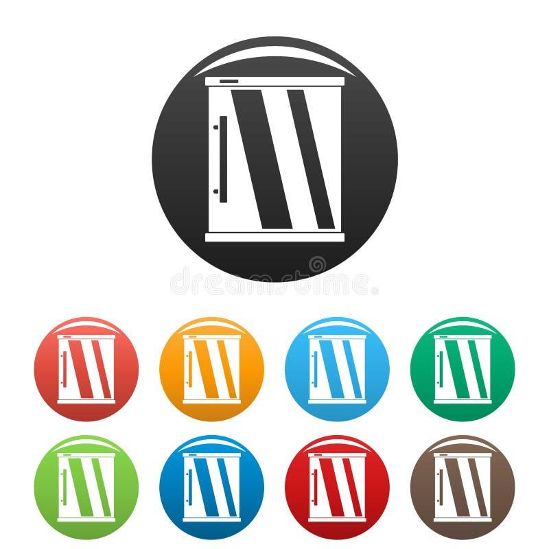 Minikühlschrankikonen-Satzfarbe lizenzfreie abbildung