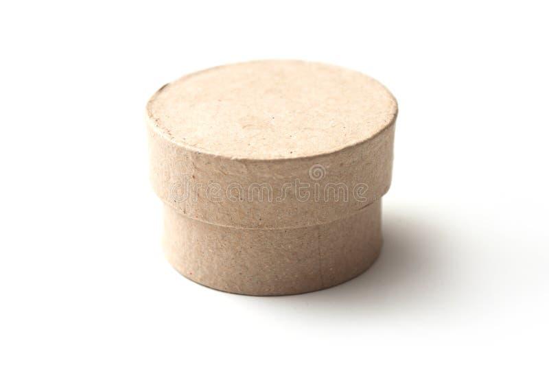Minikreispapierkasten auf weißem Hintergrund stockfoto