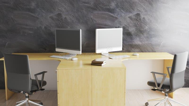 Minimaal bureau met werkruimte twee en dekstop 3D illustratie royalty-vrije illustratie